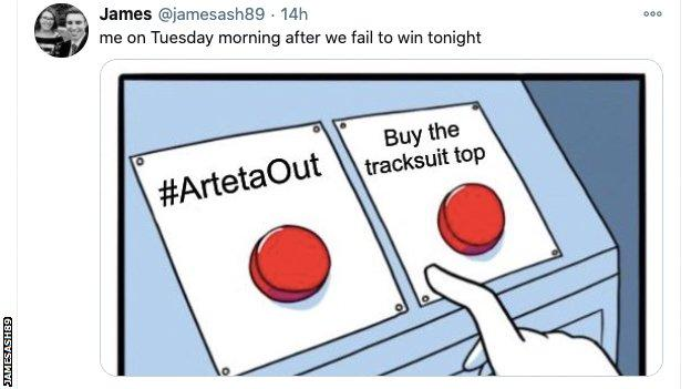 Meme showing finger hovering over two buttons. Left: Arteta Out. Right: Buy the tracksuit top.