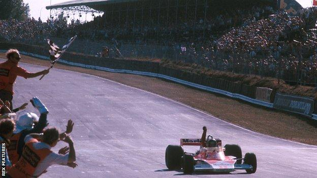 James Hunt crosses the line to win the 1976 British Grand Prix at Brands Hatch