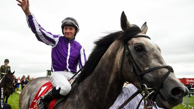 Jockey Seamie Heffernan clinched a third triumph in the Irish Derby