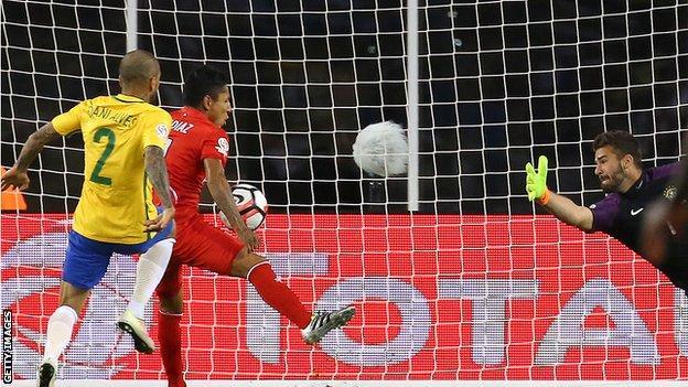 Ruidiaz scoring the winner against Brazil