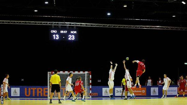 Handball being played at European Youth Olympic Festival