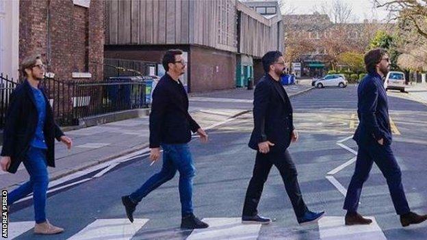 Massimo Ambrosini, Massimo Oddo, Gennaro Gattuso and Pirlo recreating The Beatles' famous Abbey Road album cover