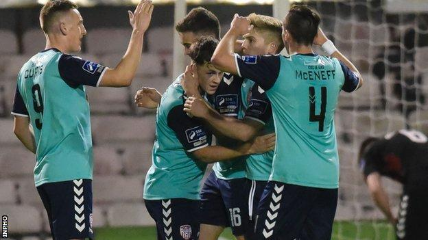 Celebrations for the Candystripes after Nathan Boyle makes it 2-0 against Bohemians