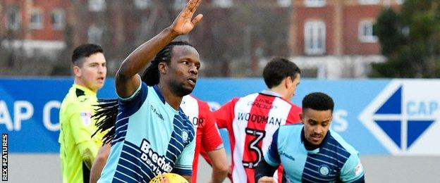 Marcus Bean wheels away after scoring against Exeter