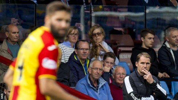 Alan Archibald watches from the sidelines as Partick Thistle play Rangers