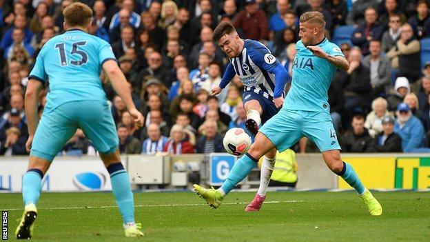 Aaron Connolly scores his second goal against Tottenham