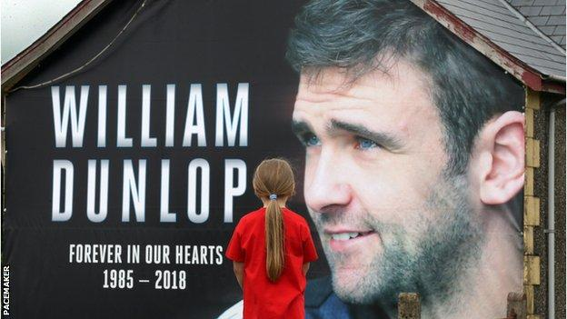 William Dunlop tribute banner at Armoy road races, 2018