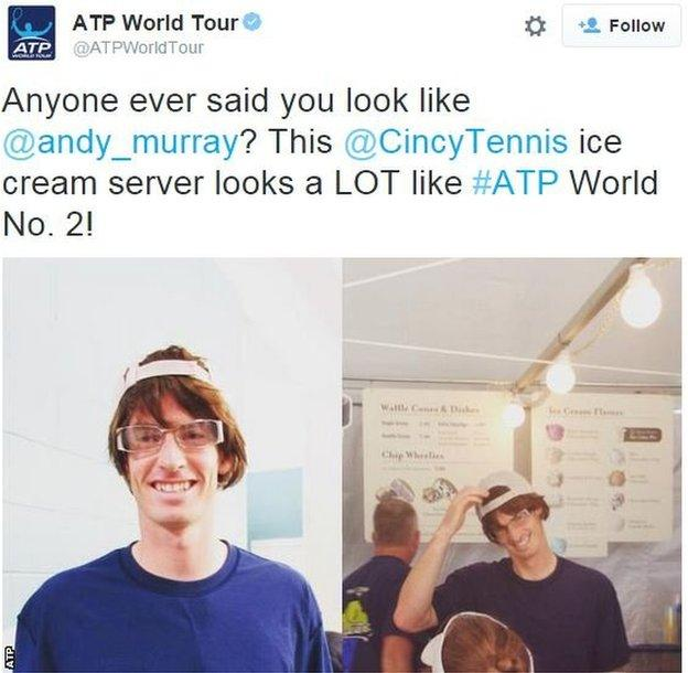ATP tweets a picture of Andy Murray