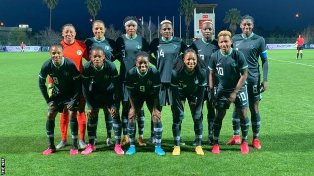 The Nigeria women's team at the Turkish Cup in February