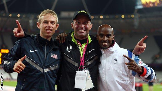 Alberto Salazar celebrates with Galen Rupp and Mo Farah at the London 2012 Olympics