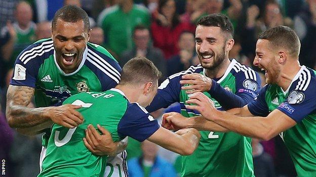 Northern Ireland players celebrate a goal in the last World Cup qualifying campaign