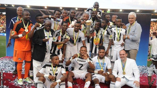 DR Congo's TP Mazembe celebrate winning the Confederation Cup