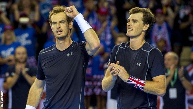 Andy and Jamie Murray in Davis Cup action in Glasgow in September 2016