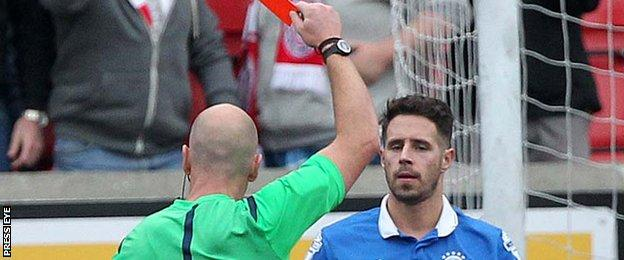Linfield defender Sean Ward was sent-off by referee Arnold Hunter