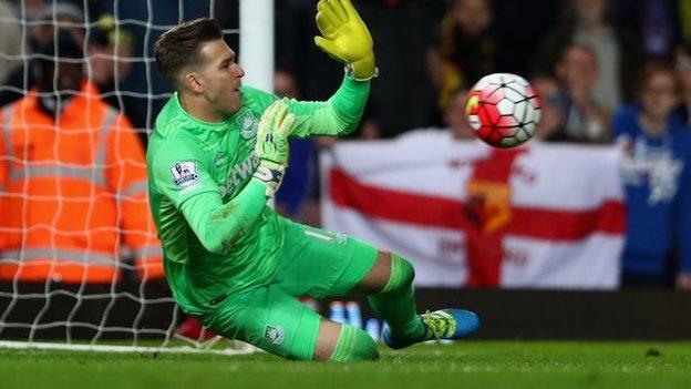 West Ham's Adrian saving a penalty against Watford