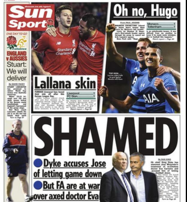 The Sun reports FA Chairman Greg Dyke's attack on Chelsea boss Jose Mourinho