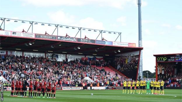Players from Bournemouth and Middlesbrough took part in a minute's applause before kick-off in memory of former Boro defender Ugo Ehiogu, who has died at the age of 44