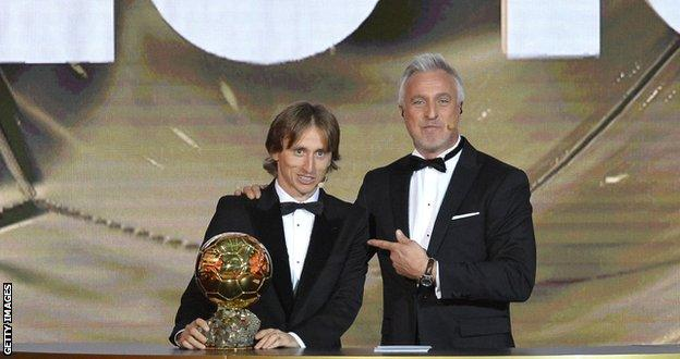David Ginola with Luka Modric after the Real Madrid midfielder was named world player of the year