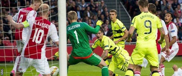 Mikael Lustig scores for Celtic against Ajax
