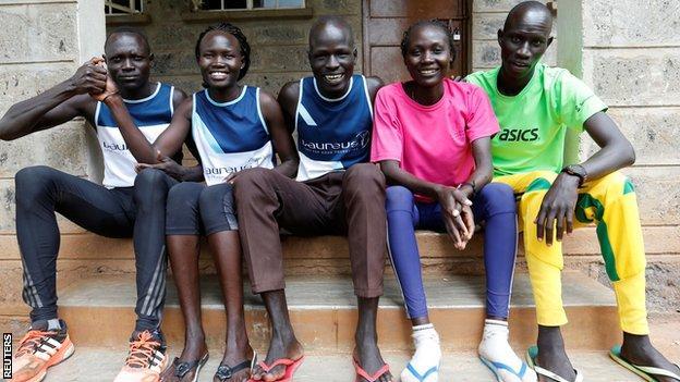 Paulo Amotun Lokoro (1500m athlete), Rose Nathike Lokonyen (800m), Yiech Pur Biel (800m), Anjelina Nada Lohalith (1500m) and James Nyang Chiengjiek (400m)