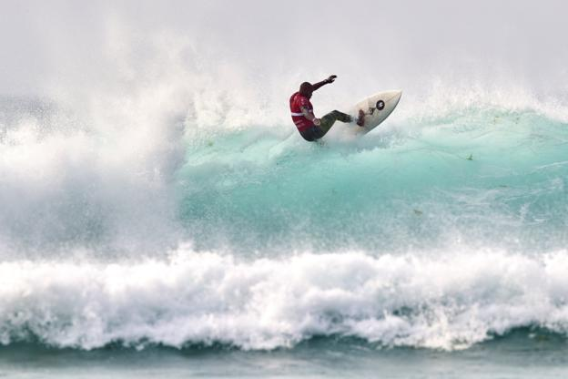 Weslley Dantas of Brazil in action during sixth day of Pantin Classic Galicia Pro at Pantin Beach in A Coruna, Spain