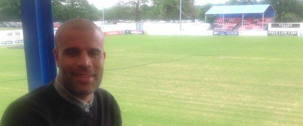 Solihull Moors boss Marcus Bignot at Damson Park