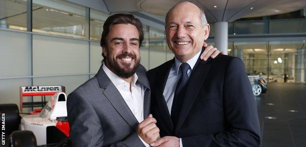 Formula 1 driver Fernando Alonso (left) with Ron Dennis, Chairman and Chief Executive Officer, at McLaren
