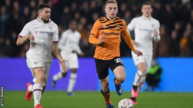 Hull City forward Jarrod Bowen in action against Chelsea in the FA Cup