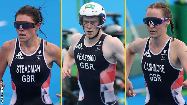 GB triathletes Lauren Steadman, George Peasgood and Claire Cashmore in action in Tokyo