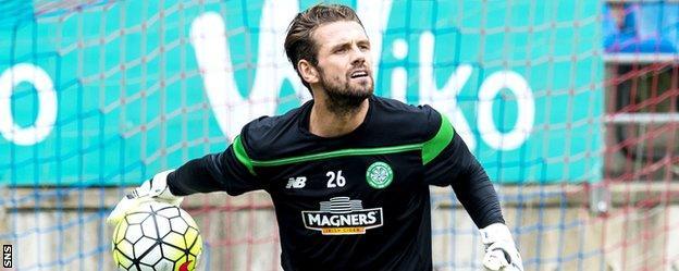 Celtic goalkeeper Logan Bailly plays against Eibar