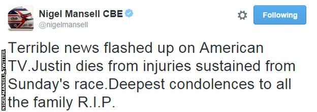 Nigel Mansell tweet