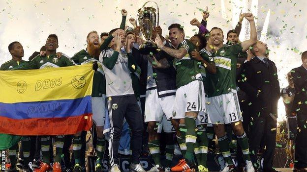 Portland Timbers celebrate winning the 2015 MLS Cup
