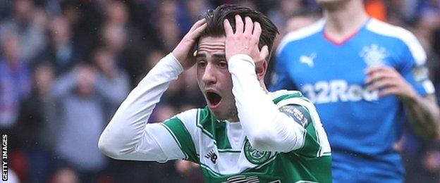 Celtic's Patrick Roberts reacts with anguish after missing an open goal