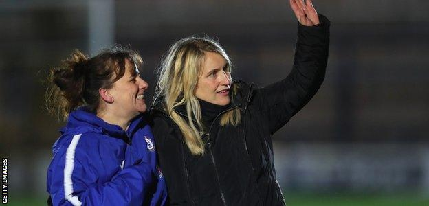 Emma Hayes (right) celebrates after Chelsea Ladies progressed to the Women's Champions League semi-final
