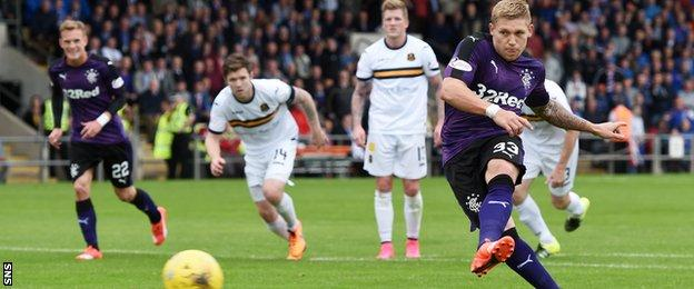 Martyn Waghorn scored his second for Rangers from the penalty spot