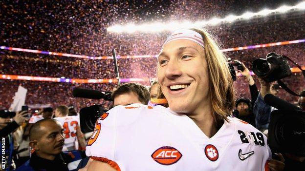 Trevor Lawrence smiles after Clemson win the 2019 national championship game