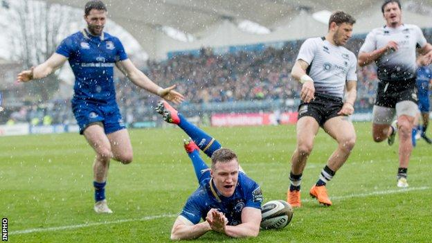 Rory O'Loughlin slides in to score Leinster's second try in the win over Zebre