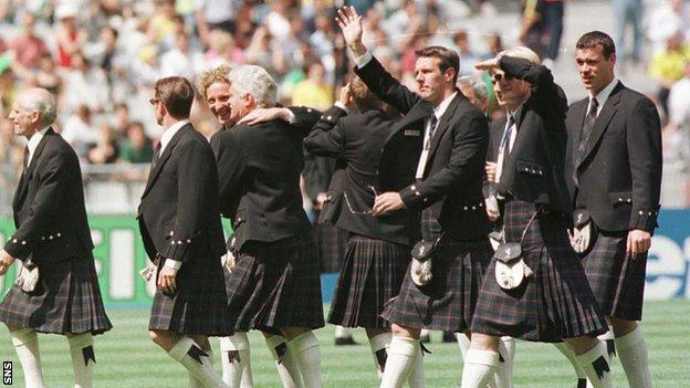 Scotland players in kilts