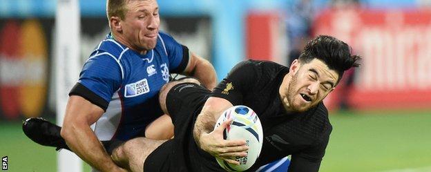 New Zealand's Nehe Milner-Skudder in action against Namibia