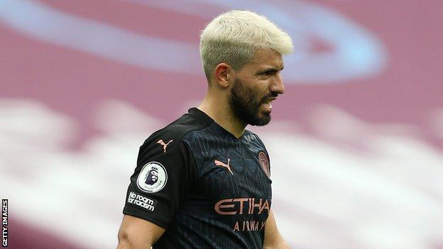 Manchester City striker Sergio Aguero grimaces during a Premier League match against West Ham