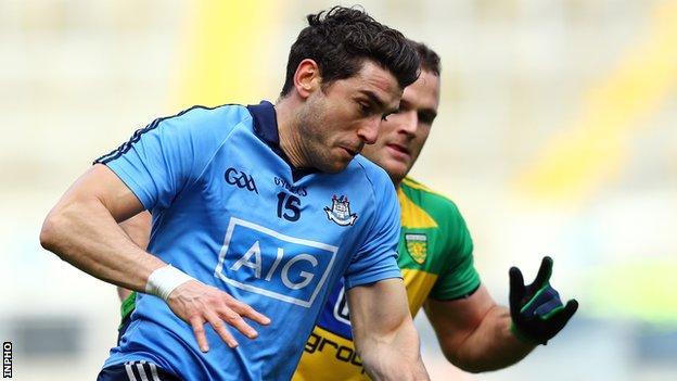 Bernard Brogan battles with Donegal's Neil McGee at Croke Park