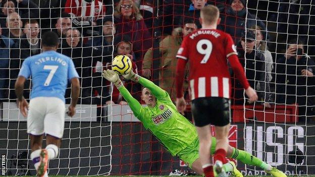 Sheffield United's Dean Henderson saves a penalty from Manchester City's Gabriel Jesus