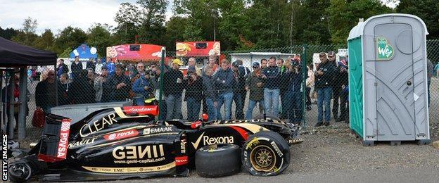 Pastor Maldonado's crashed Lotus at the 2104 Belgian Grand Prix