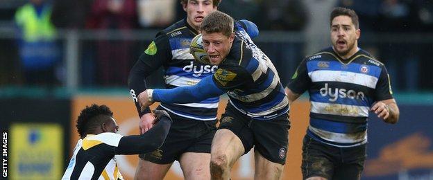 Rhys Priestland in action for Bath against Wasps