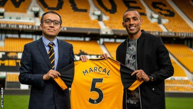 Jeff Shi with Marcal after the defender signed for Wolves