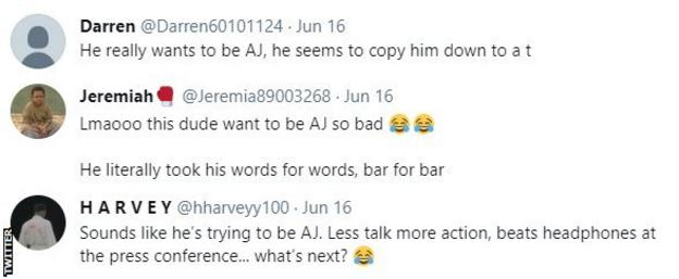 """Boxing fans on Twitter point out that Deontay Wilder used the same words as Anthony Joshua, with one fan saying """"this guy wants to be AJ so badly""""."""