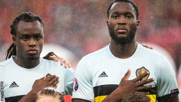 Jordan Lukaku (left) and brother Romelu line-up for Belgium