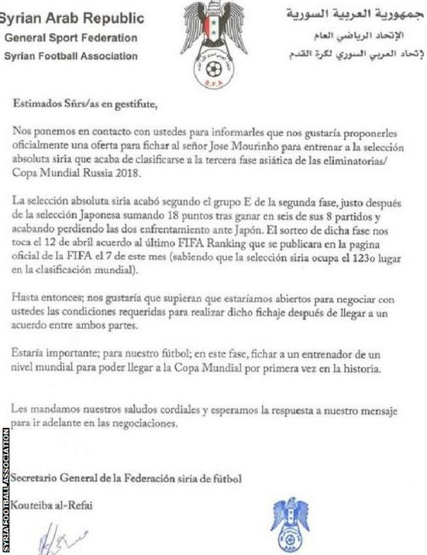 Syria Football Association letter