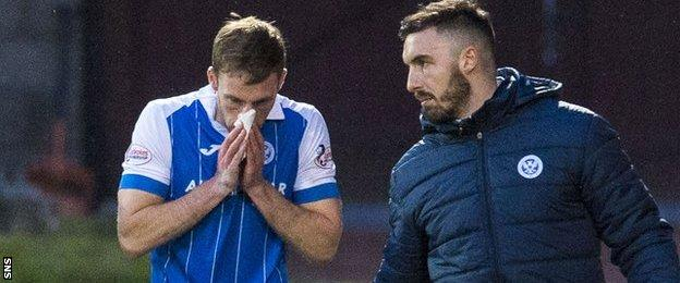 New St Johnstone striker David McMillan was withdrawn after picking up a knock