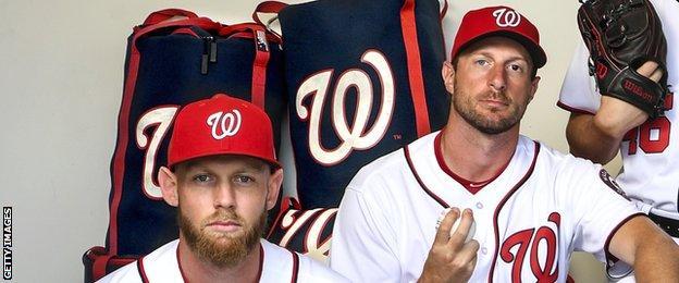 Washington Nationals' Stephen Strasburg and Max Scherzer